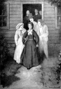 1903 illustration of Luella surrounded by ghostly attendants
