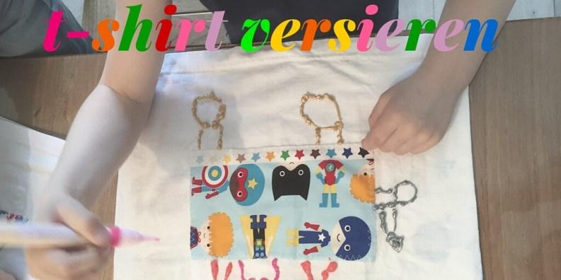 t-shirt versieren met textiel stiften & stofjes