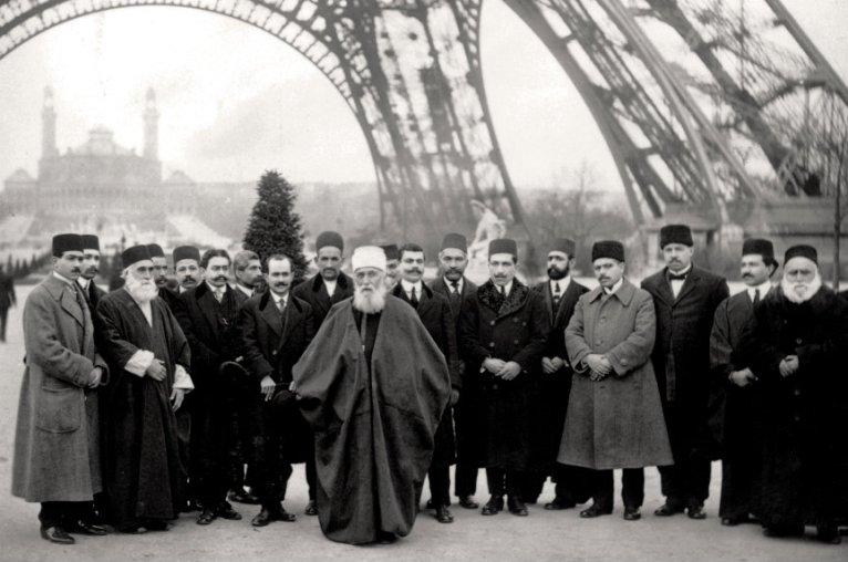 Abdu'l-Baha in Paris near the Eiffel Tower in 1913. (Photo: Baha'i Media Bank)