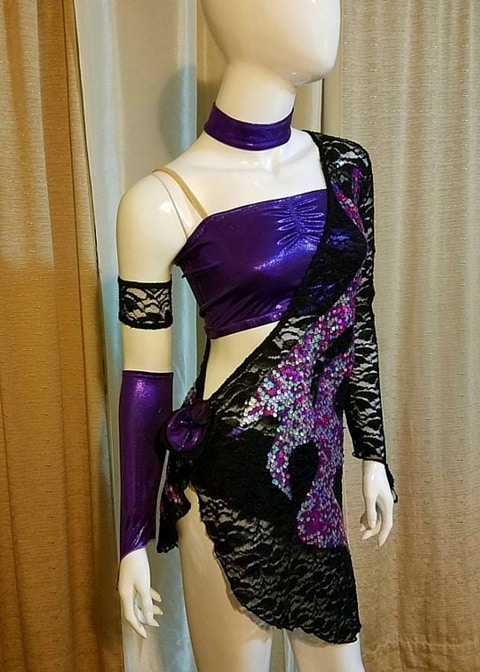 Purple Rain Latin dance dress by Baila Designs