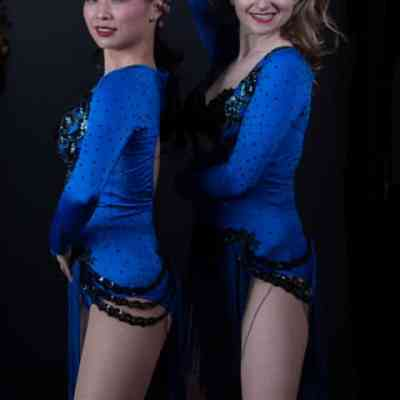 Midnight Sky is a custom designed salsa costume by Baila Designs