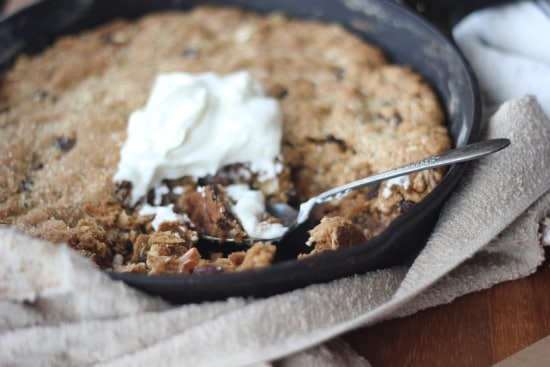 Maple Oatmeal Raisin Skillet Cookie with Greek Yogurt