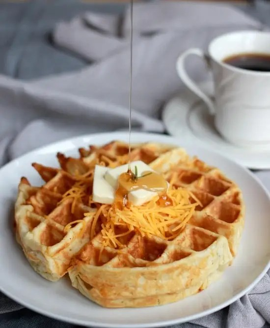 Cheddar Rosemary Savory Waffles- Baker Bettie