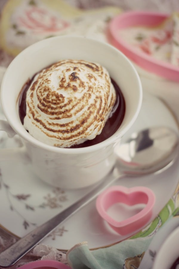 Dark Chocolate Custard with Meringue- Baker Bettie