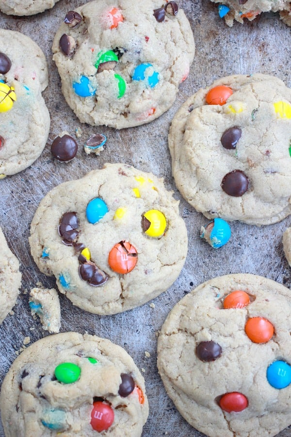 Thick and Soft Peanut Butter M&M Cookies | Baker Bettie