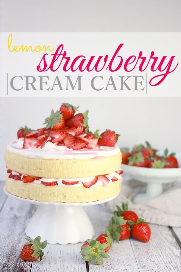 Lemon Strawberry Cream Cake- Baker Bettie