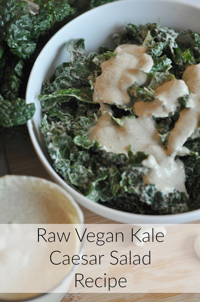... Caesar dressing , you will love this raw vegan kale Caesar salad