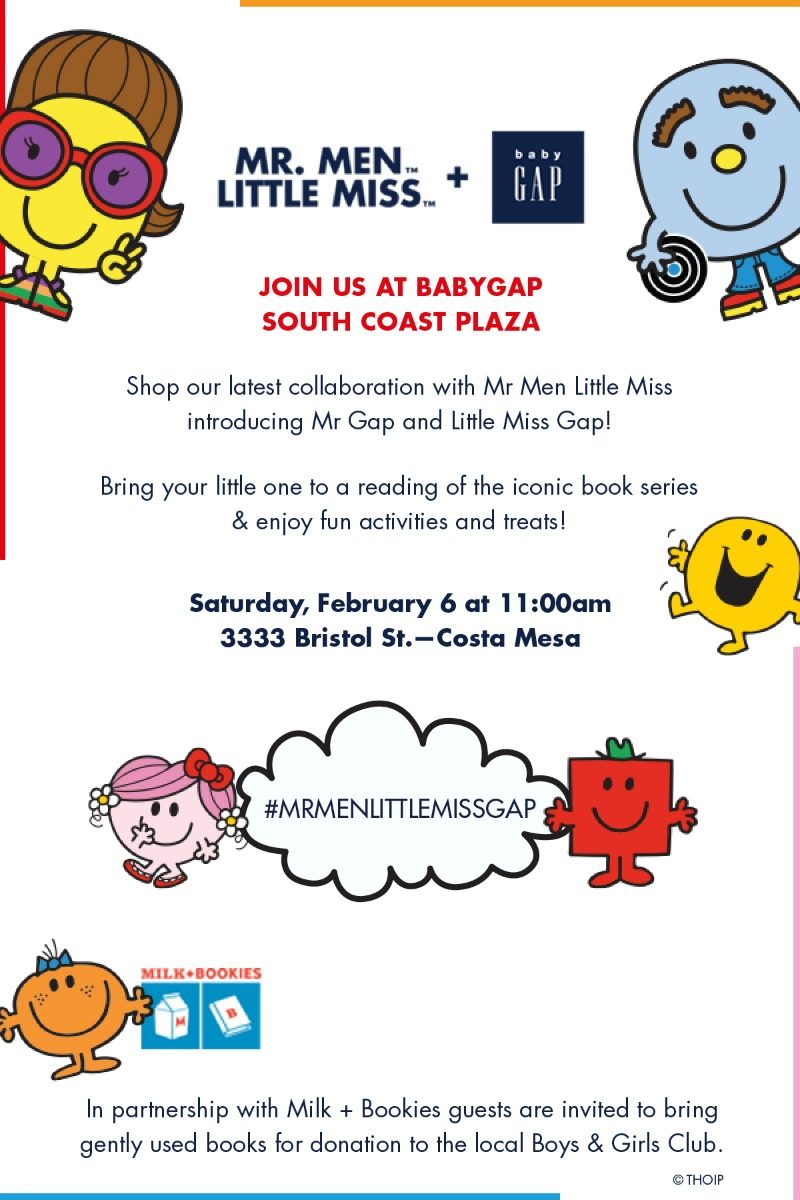 You're Invited: Mr. Men and Little Miss Event at The Gap SCP Feb 6th |@GapKids @milkandbookies    #MRMENLITTLEMISSGAP