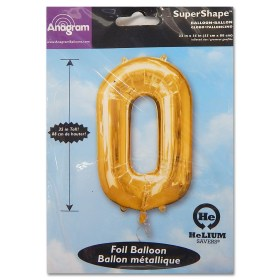 0 Gold Number Foil Balloon Not Inflated from Balloon Shop NYC