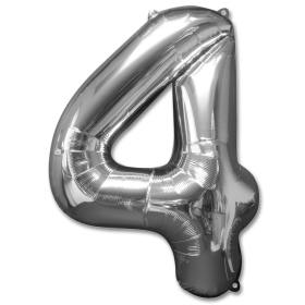 Number 4 Silver Jumbo Foil Balloon from Balloons Shop NYC