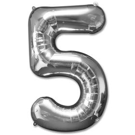 Number 5 Silver Jumbo Foil Balloon from Balloons Shop NYC