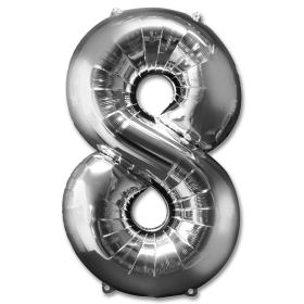 Number 8 Silver Jumbo Foil Balloon from Balloons Shop NYC