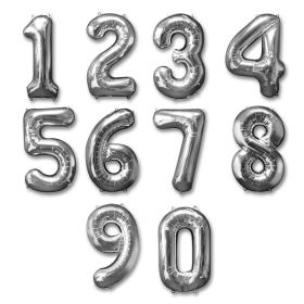 Silver Numbers Jumbo Balloons from Balloons Shop NYC