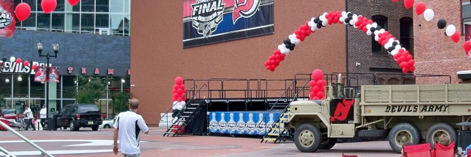 NJ Devils rally stage decorations
