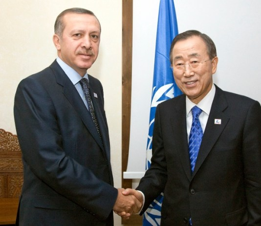 Secretary-General Ban Ki-moon (right) is pictured with Recep Tayyip Erdogan, President of Turkey, a member of the North American Treaty Organization (NATO) along with Estonia, Latvia, Lithuania, and several other countries. UN Photo/Eskinder Debebe.