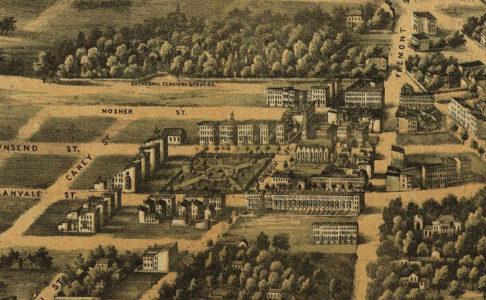View of Lafayette Square excerpted from E. Sachse, & Co.'s bird's eye view of the city of Baltimore, 1869. Courtesy Library of Congress, 75694535.