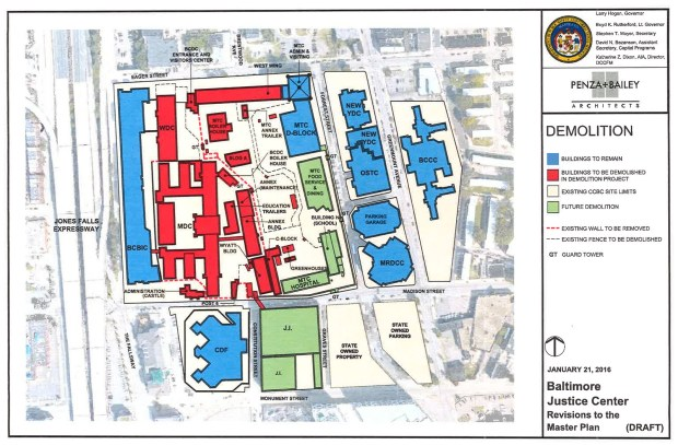Buildings proposed for demolition in 2017 are marked in red. Courtesy Maryland Department of Corrections.