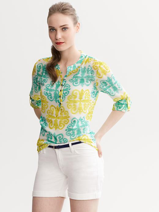 Banana Republic Milly Collection Medallion Print Roll Sleeve Top