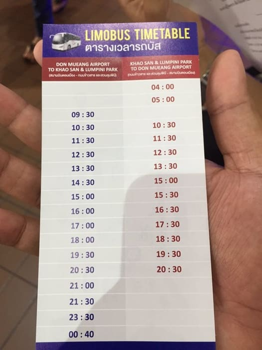 Airport Bus Time Table