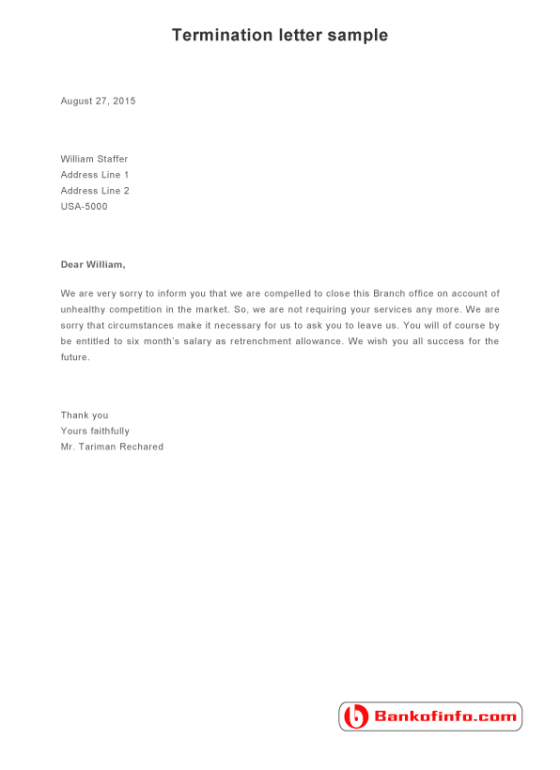 termination letter sample format example template