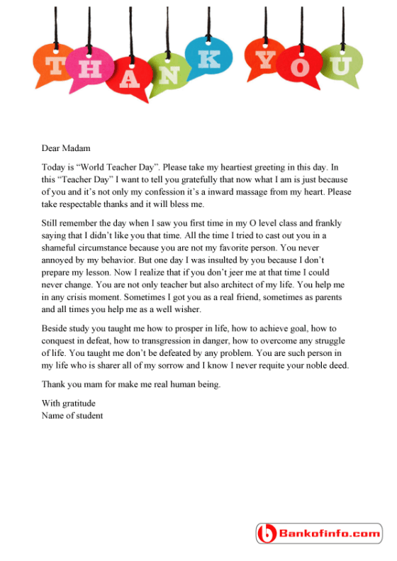 How to write a thank you letter to your teacher