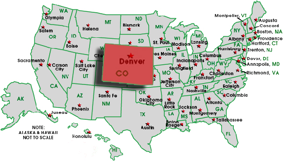 Map Usa Denver Colorado - Colorado on a us map