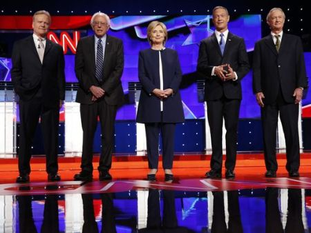 Democratic debate photo from USAToday.com