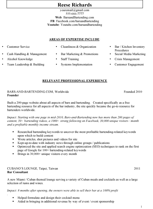 sample bar manager resume