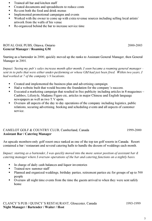 education - Sample Bartending Resume