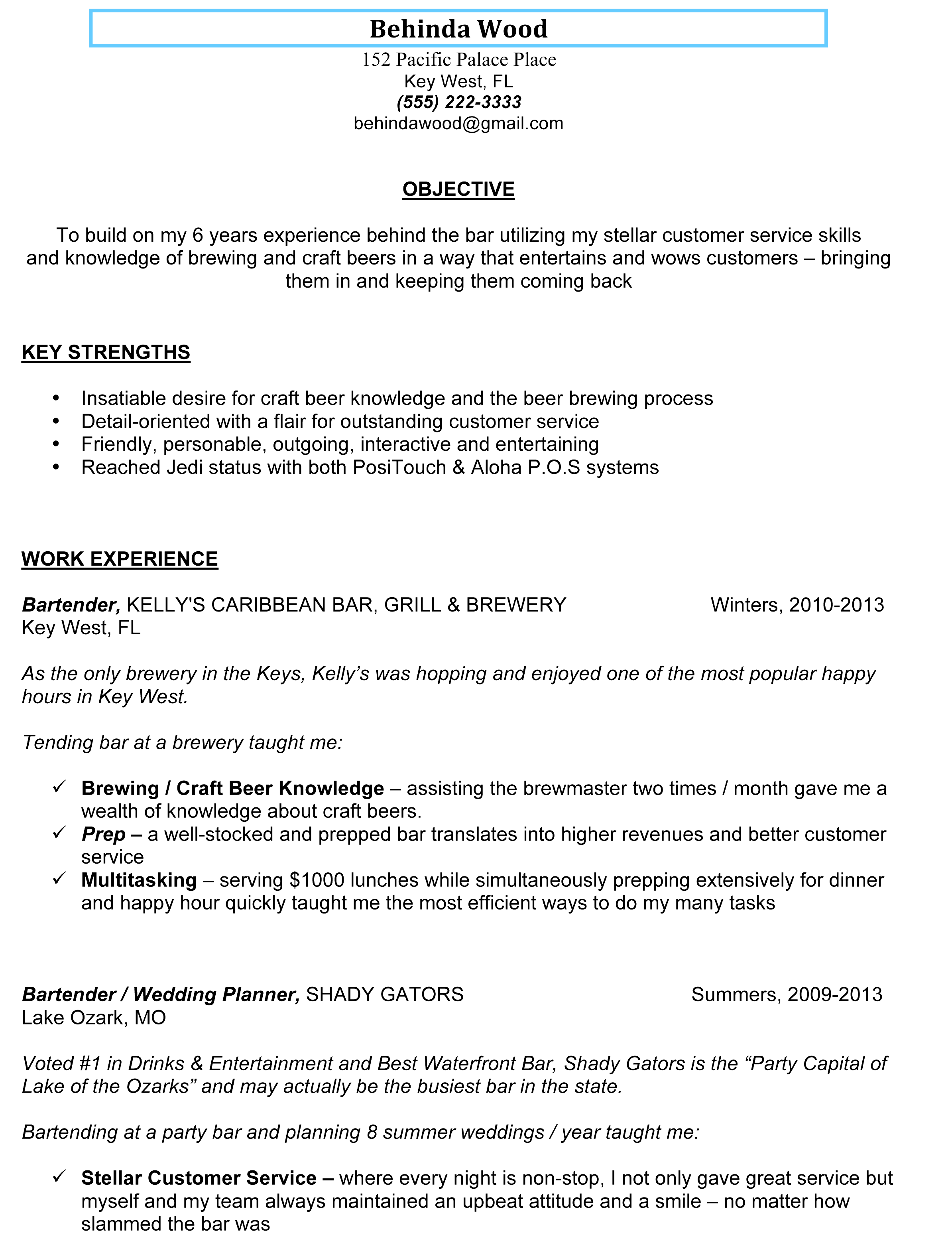 Server Bartender Resume | Resume CV Cover Letter