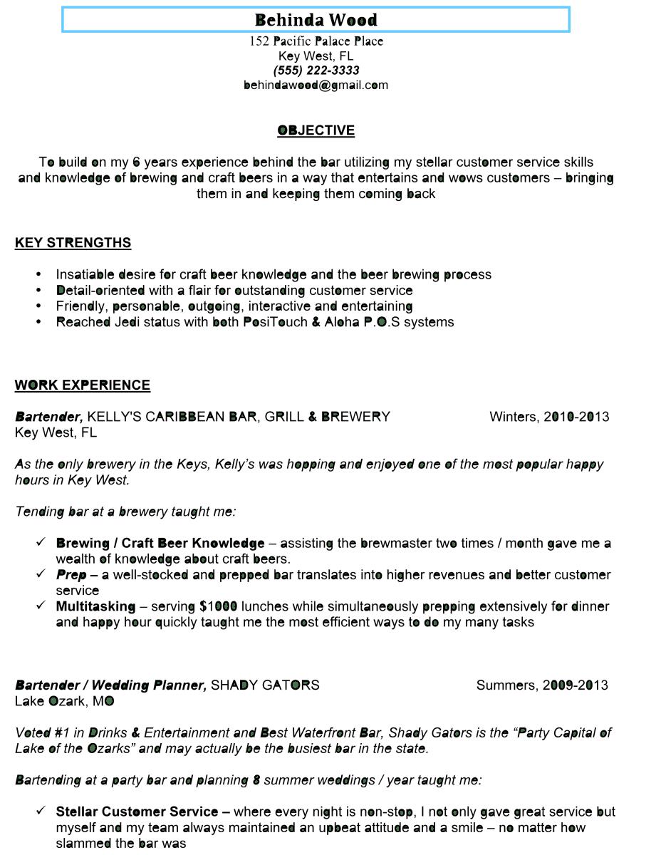 sample bartender resume professionally written
