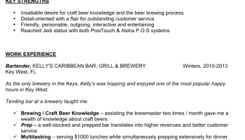 crafting the perfect bartender resume - samples and tips - Bartending Resume Examples