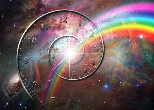 Spiral clock with rainbow and deep space background