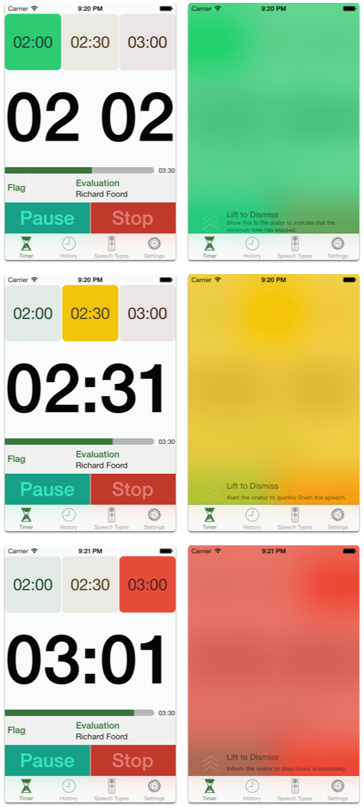 Speech Timer Flags