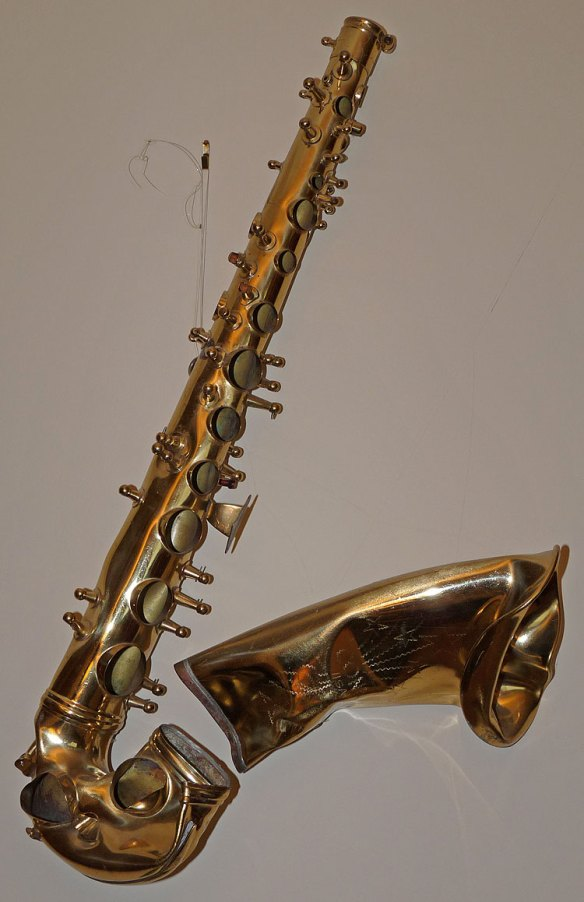 smashed saxophone, Conn alto sax, saxophone art, how to buy a used saxophone