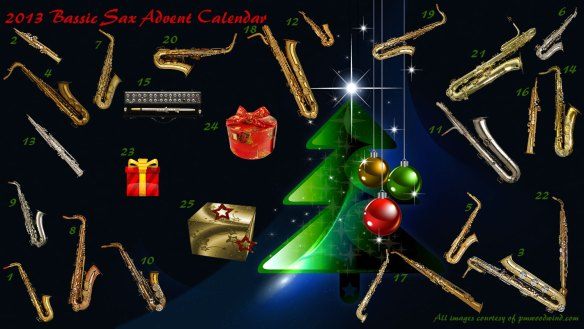 2013 Bassic Sax Advent Calendar, holiday desktop wallpaper, Christmas tree, glass ornaments,wrapped presents,