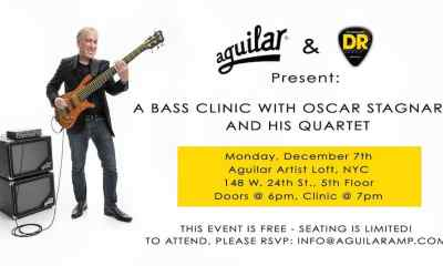 Aguilar Amplification and DR Strings Announce a Clinic With Bassist Oscar Stagnate