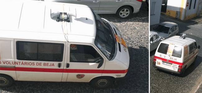 Veículo dos bombeiros usado para promover tourada
