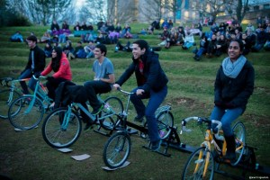 Over 100 students helped power the cycle cinema