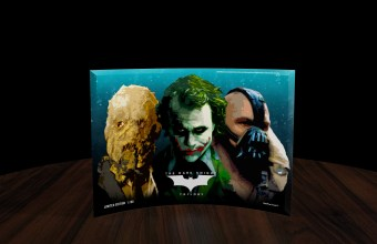 SP0710CUR401 The Dark Knight Trilogy (Rogues Gallery) StarFire Print Curved Glass Prints BLACK