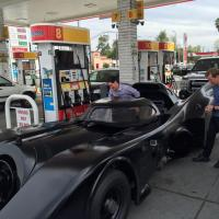 NASCAR's Joey Logano ditches his racecar for Michael Keaton's Batmobile (photos)