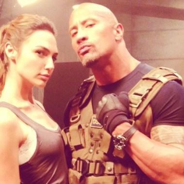 """Dwayne """"The Rock"""" Johnson reacts to Gal Gadot's new Wonder Woman photo"""