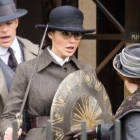 Gal Gadot wields a sword and shield in 'Wonder Woman' set photos