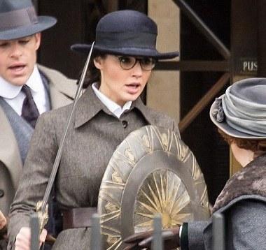 Gal Gadot wields a sword and shield in 'Wonder Woman' set photos