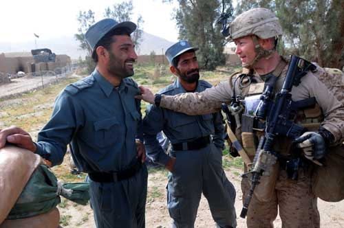 Afghan Uniformed Police and Marines