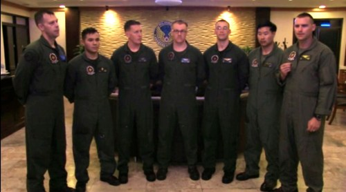 Members of Marine Aerial Refueler Transport Squadron 152, rescued two downed helicopter pilots on Nov. 24, during Operation Damayan in the Philippines. From left to right: Master Sgt. James Holdaway, Lance Cpl. Daniel Lopez, Sgt. Chris Weins, Sgt. Jason Differ, Cpl. Christopher Oliver, Capt. Christopher Kim and Maj. Jason Kauffman. (Sgt. John Lamb/Marine Corps)