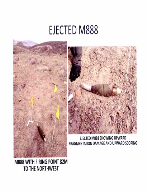 The ejected M888 mortar round was found, severely damaged, near the site of the blast. Via Navy Expeditionary Combat Command.