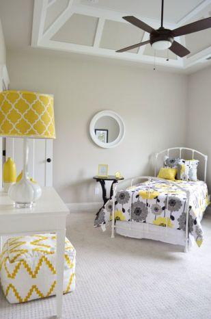 quarto infantil cinza e amarelo
