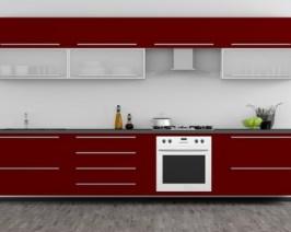 Eine Küche mit roten Küchenfronten