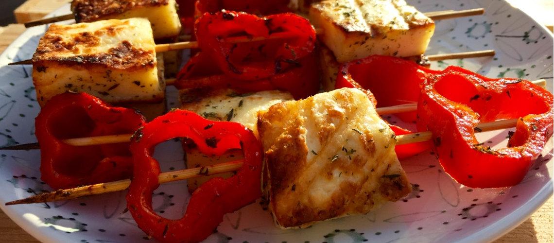 halloumi en gegrilde paprika kebabs